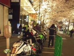 バイクと夜桜